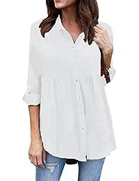 Blusas y camisas,Koly Mujer Básico Color Puro Manga Larga Slim Fit Solapa Camisa Womens