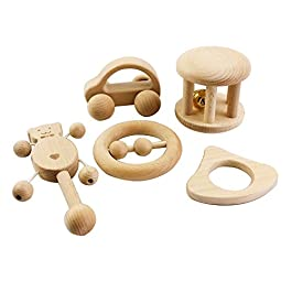 let's make Juguetes Intelectual de los niños Montessori juguetes Set 5pcs Enfermería madera de madera sonajeros Bebé divertido e interesante Juguetes Toddler hecho a mano regalo de ducha Motor de Desarrollo …