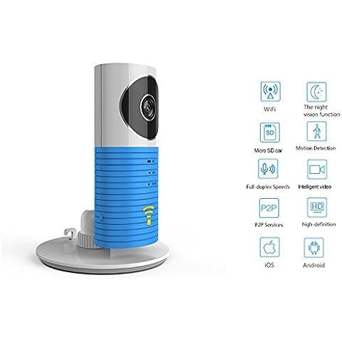 Expower Wifi Smart Videocamera di Sorveglianza Wireless per Bambini con Visione Notturna, App Cellulare di Gestione iOS Android in Remoto 720P HD, Rilevamento Movimento Allarme di Sicurezza Altoparlante Microfono Incorporato, Scheda di Memoria Micro-SD Massimo 32GB (Blu)