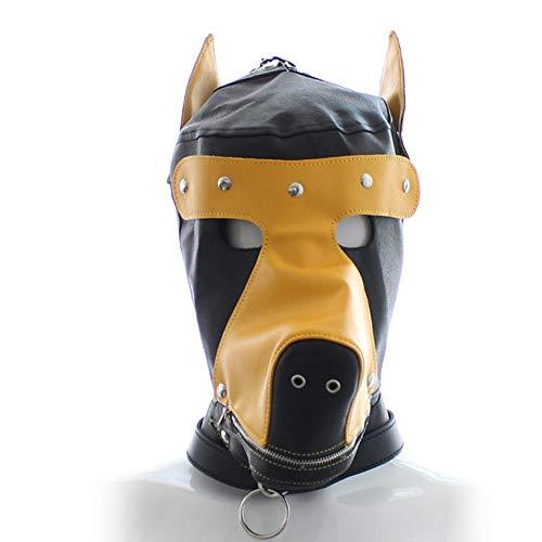 YA Domina sexy Leder Hund Kopfbedeckung Leder Kopfbedeckung Alternative Hund Spielzeug Partei liefert,Beige