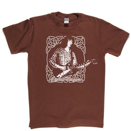 Richard Thompson British Guitarist Acoutstic Guitar 1990s Music Tee T-shirt Braun