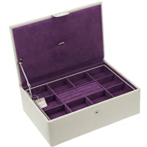 "Beautiful Dulwich Designs ""Oslo"" Stone & Grape Colour Genuine Leather Jewellery Box by Dulwich Designs of London"