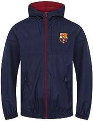 5b2ebbca86e78 FC Barcelona - Chaqueta cortavientos oficial - Para niño - Impermeable -  Estilo retro