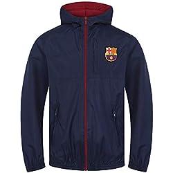 FC Barcelona - Chaqueta cortavientos oficial - Para niño - Impermeable - Estilo retro - 6-7 años
