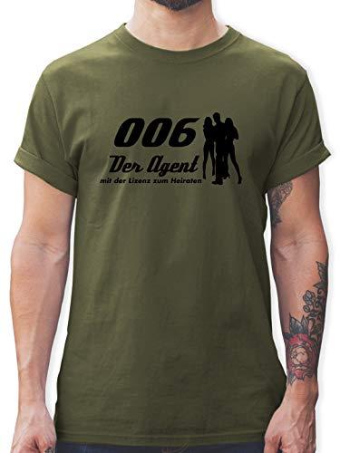 Spion Kostüm Super - JGA Junggesellenabschied - 006 der Agent - S - Army Grün - L190 - Herren T-Shirt und Männer Tshirt
