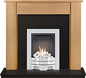 The Capri in Beech & Granite with Crystal Diamond Contemporary Gas Fire in Brushed Steel, 48 Inch