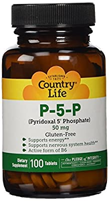 Country Life Life, Gluten Free, P-5-P (Pyridoxal 5' Phosphate), 50 Mg, 100 Tablets from Country Life Vitamins
