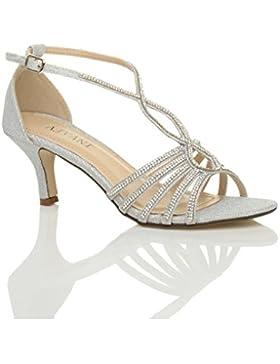 Damen Hoher Absatz Hochzeit Elegant T-Riemen Riemchensandalen Pump Schuhe Größe