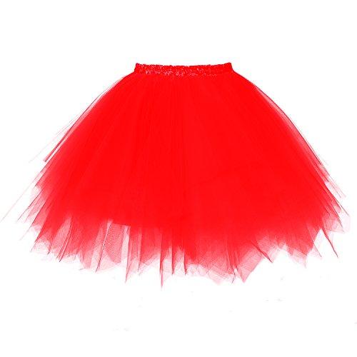 (LSCY Schicht Gaze Petticoat Tutu Vintage Tutus Fluffy Schaum (2XL, Red))