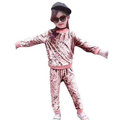 Yter Boy Kleidungs-Set für Kleinkinder und Mädchen, mit Kapuze, aus Samt, 2-teilig, Rose, 2-3T