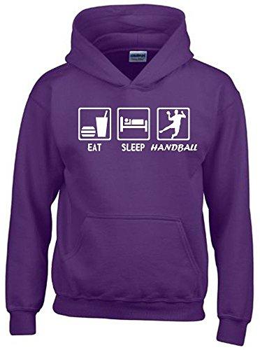 EAT SLEEP HANDBALL Kinder Sweatshirt mit Kapuze HOODIE lila-weiss, Gr.152cm