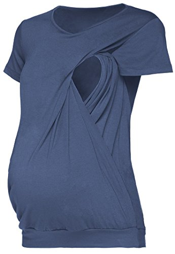 Happy Mama. Damen Umstandsmoden Top Still T-Shirt Lagendesign Kurze Ärmeln. 436p (Blau Grau, EU 42/44, XL) - Blau Kurze Ärmel T-shirt Top