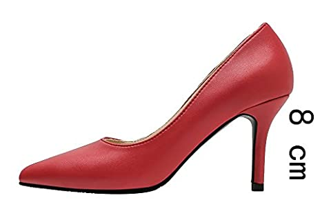 Verocara Women's Classic Simple Sexy Stiletto Pointed Toe Pumps Shoes Red-8cm 6 UK
