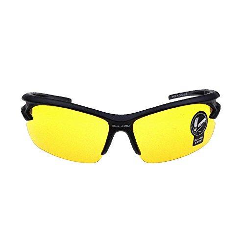 Frame-foto Angel (AOLVO Unisex Sonnenbrille mit halb Rand, PC Polarisierte Sport UV400Explosion Proof Aviator Sonnenbrille Polarisierte Gläser Sicherheit-für Fahren Laufen Angeln Radfahren Golf Camping und Wandern, Black Frame Yellow Lenses Night Vision, Einheitsgröße)