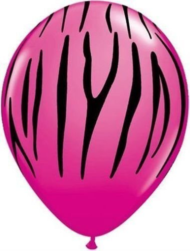"Preisvergleich Produktbild Wild Berry Pink Zebra Stripes Animal Print Qualatex 11"" Latex Balloons x 5 by Qualatex"