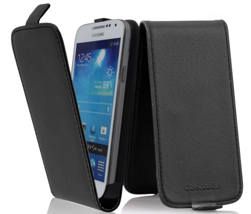 Schwarzer Kaviar Leder (Samsung Galaxy S4 MINI Flip Hülle in SCHWARZ von Cadorabo - Handyhülle in Kunstleder MINI Case Cover Schutzhülle Etui Tasche in KAVIAR SCHWARZ)