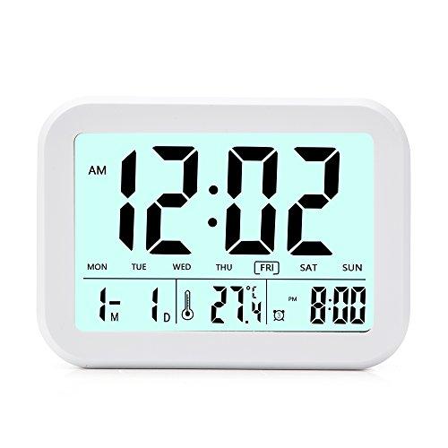 Despertador Digital  CompraFun Reloj Despertador con Alarma Luz de Noche. Blanco