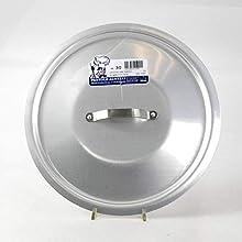 Pentole Agnelli Professional Aluminium 3 Mm. Round Heavy Lid With Small Loop Handle, Diameter 45 Cm.