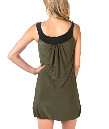 KRISP® Damen Tunikakleid Minikleid Longtop mit Blumenanstecker Khaki (3565)