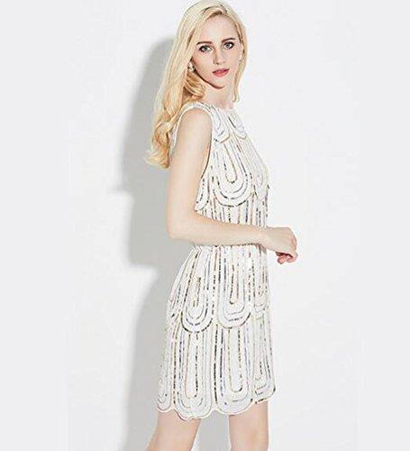 NiSeng Damen Ärmellos Kleid Mode Pailetten Wulstige Kleid Retro Cocktailkleid Schiftkleid Weiß