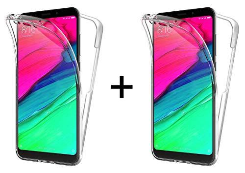 TBOC 2X Funda para Xiaomi Redmi 5 Plus - Redmi 5Plus - [Pack: Dos Unidades] Carcasa [Transparente] Completa [Silicona TPU] Doble Cara [360 Grados] Protección Integral Total Delantera Trasera Lateral