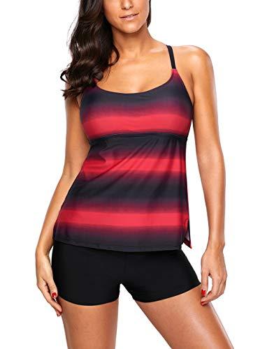 GOSOPIN Damen Tankini Set Einfarbig Solid Ausgeschnitten Bunt Off Schulter Racerback für große brüste 2 Stück Rot S -