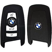 Funda de silicona de grande calidad para mando de llave inteligente de 2/3/4 botones de coche BMW serie 134567modelo F12F13F20/21F30F26F23F34F35 (negro)