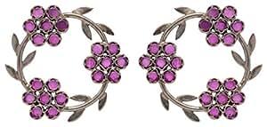 Chamba Lama Purple 92.5 Sterling Silver Stud Earrings for Women (ER-06)