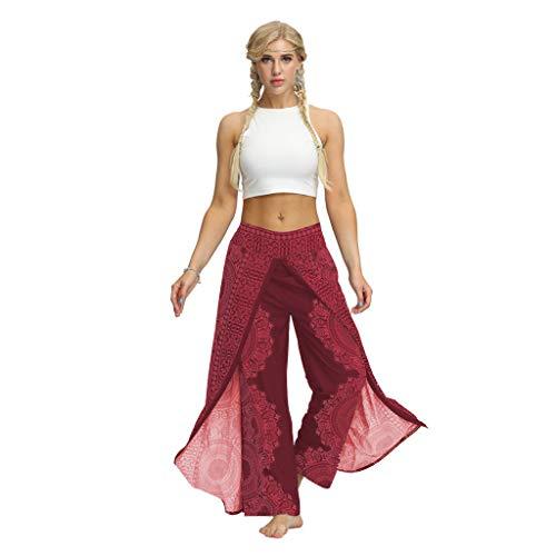 Yogahosen Damen Lang Böhmische Lockere Yogahosen mit Weitem Bein Frauen Haremshose Casual Sommer Yogahose Baggy Boho Aladdin Jumpsuit Pluderhosen Grosse Grössen -