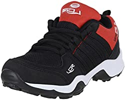 Lancer Mesh Running Shoes for Girls and Boys (Black and Red, 5 UK)