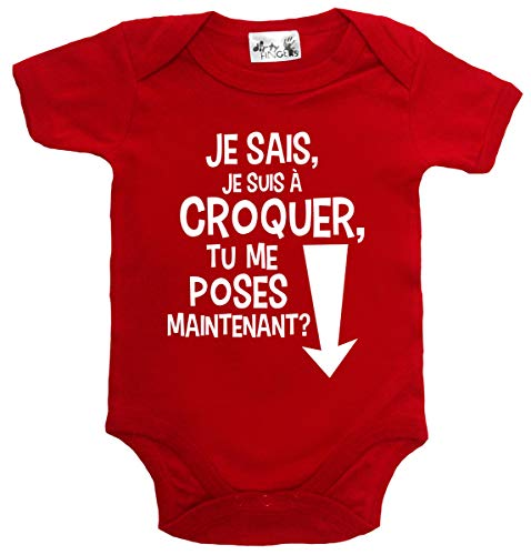 Dirty Fingers Je Sais Je suis à Croquer tu me Poses Maintenant? Body bébé 12-18m Rouge