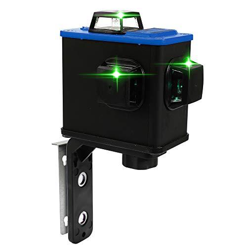 KKmoon 3D Kreuzlinienlaser Selbstnivellierend 30M mit Magnetische Wandhalterung, mit 12 Grünen Linien, 360 Grad Drehbar, IP54 Staub und Spritzwasserschutz inkl. Schutztasche
