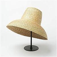 Nuevo Popular de la lámpara en forma de señoras de Sun del sombrero Señoras de ala ancha playa del verano del sombrero Señoras del top del alto del sombrero de paja UV viaje Hat ( Color : Natural )
