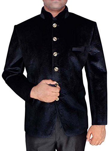Velvet Smoking-hose (INMONARCH Mens Black Velvet Arbeiten Threading Jodhpuri Anzug JO400S34 44 Kurze or XS (Höhe 163 cm bis 170 cm) Schwarz)
