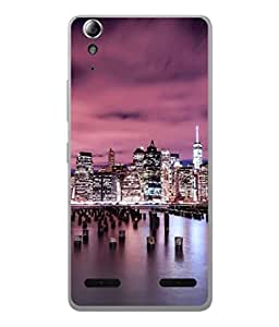 PrintVisa Designer Back Case Cover for Lenovo A6000 (night view of town buildings)
