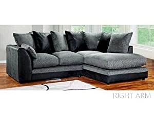 Dylan Byron Corner Group Sofa Black and Charcoal Right or Left (Black Right) from Abakus Direct