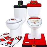 6 Pezzi Natale Toilette Copriwater Decorazioni, Pupazzo di Neve Santa Sedile WC Coperchio Sedie e Set Tappetino Rosso Decorazioni di Natale Bagno