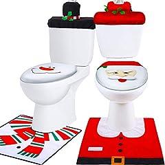 Idea Regalo - 6 Pezzi Natale Toilette Copriwater Decorazioni, Pupazzo di Neve Santa Sedile WC Coperchio Sedie e Set Tappetino Rosso Decorazioni di Natale Bagno