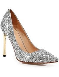 TRESHER - Zapatos de Salón con Cuña Plateados Clasic - 40