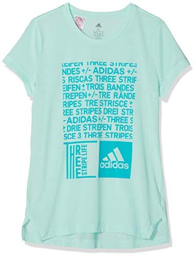 adidas Mädchen Training Graphic Kurzarm T-Shirt Clear Mint/Hi-Res Aqua 164