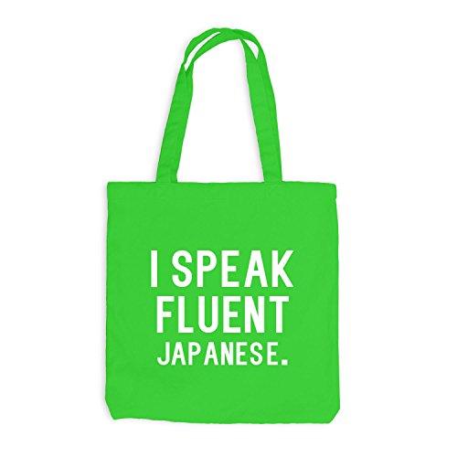 Borsa Di Juta - Parlo Fluentemente Giapponese - Lingua Giapponese Verde Chiaro