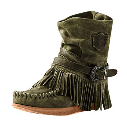 LILIHOT Damenmode Stiefeletten Lässig Runde Kappe Stiefele Rom Retro Fransen Kurze Stiefeletten Flache Schuhe Winter Rutschfest Outdoor Verschleißfest Boots Elegante Casual Flache Schuhe -