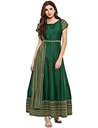 AHALYAA Women's Poly Silk Anarkali Kurta (Green)