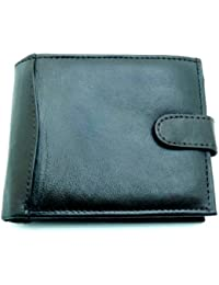 Leather Emporium Mens High Quality Luxury Soft Black Tri Fold Leather Wallet