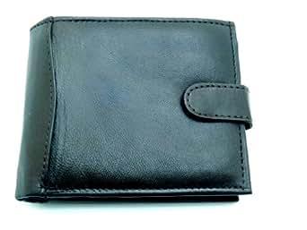 The Leather Emporium Portefeuille en cuir souple pour homme Haute qualité Noir