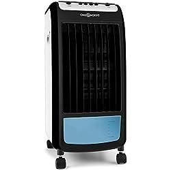 OneConcept CarribeanBlue Blueline Edition • Rafraîchisseur d'air • 3 en 1 • Ventilateur 3 Vitesses • 400m³/h • Réservoir d'eau de 4L • Filtres à air • Humidification • Noir-Bleu