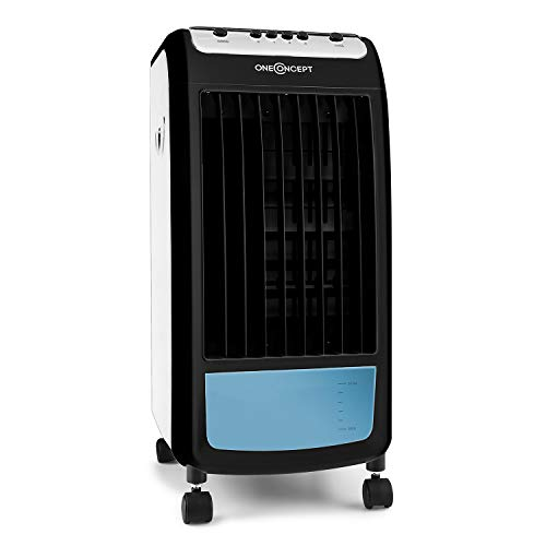 OneConcept CarribeanBlue Blueline Edition - Rafraîchisseur d'air, 3 en 1, Ventilateur 3 Vitesses, 400m³/h, Réservoir d'eau de 4L, Filtres à air, Humidification, Noir-Bleu