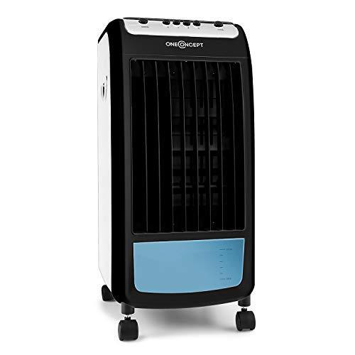 Oneconcept Caribbean Blue 2019 Edition - Enfriador, Ventilador, Climatizador, Humidificador, Portátil, 3 velocidades, Potencia 70 W, Capacidad 4L, Ruedas integradas, Negro y Azul