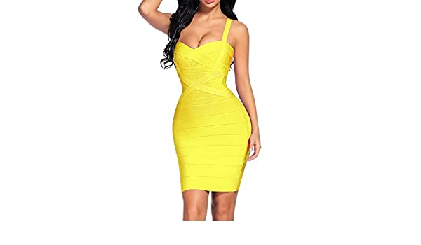 iFashion Womens Rayon Bandage Bodycon Strap Mini Dress Yellow XS: Amazon.co.uk: Clothing