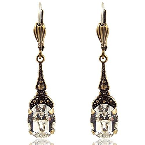 Jugendstil Ohrringe mit Kristallen von Swarovski Gold Crystal NOBEL SCHMUCK